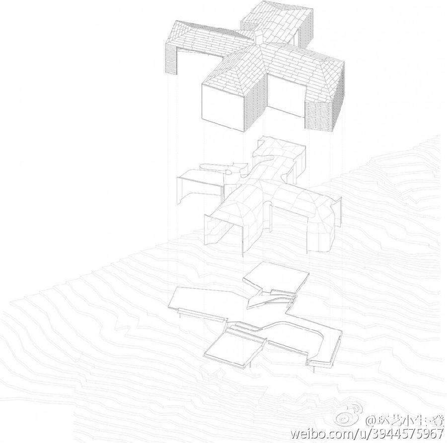 几何造型建筑 手绘
