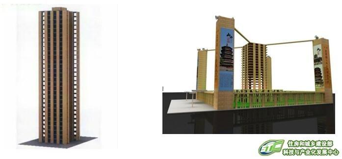 新型结构材料正交胶合木结构建筑模型