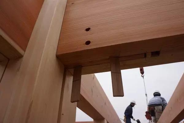 """卯榫构造的木结构承重框架,节点位置,使用""""木销子""""的情况图片"""