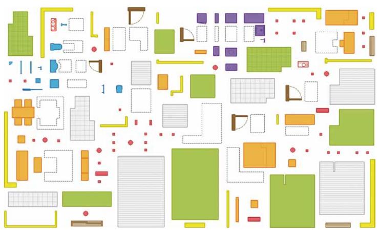 图5 将居室部品归纳为九大部品体系 (2)模块分级:通过不同递次的水平分解,可以获得不同层级的功能模块。首先,可以把居室空间一次分解结果定义为一级模块,即单位功能模块,对应于相对独立的单位功能空间;然后,把单位功能空间分解结果定义为二级模块,即单一功能模块,对应单一的居住行为;最后,将部品从空间中剥离出来形成三级模块,即部品模块。新型工业化住宅建造模式的技术特征体现部品化装配技术的合理应用。 (3)通过居室模块水平分解与纵向分级,按使用功能自上而下搭建了一个多层级的居室模块化系统。需要说明的是,模块划分