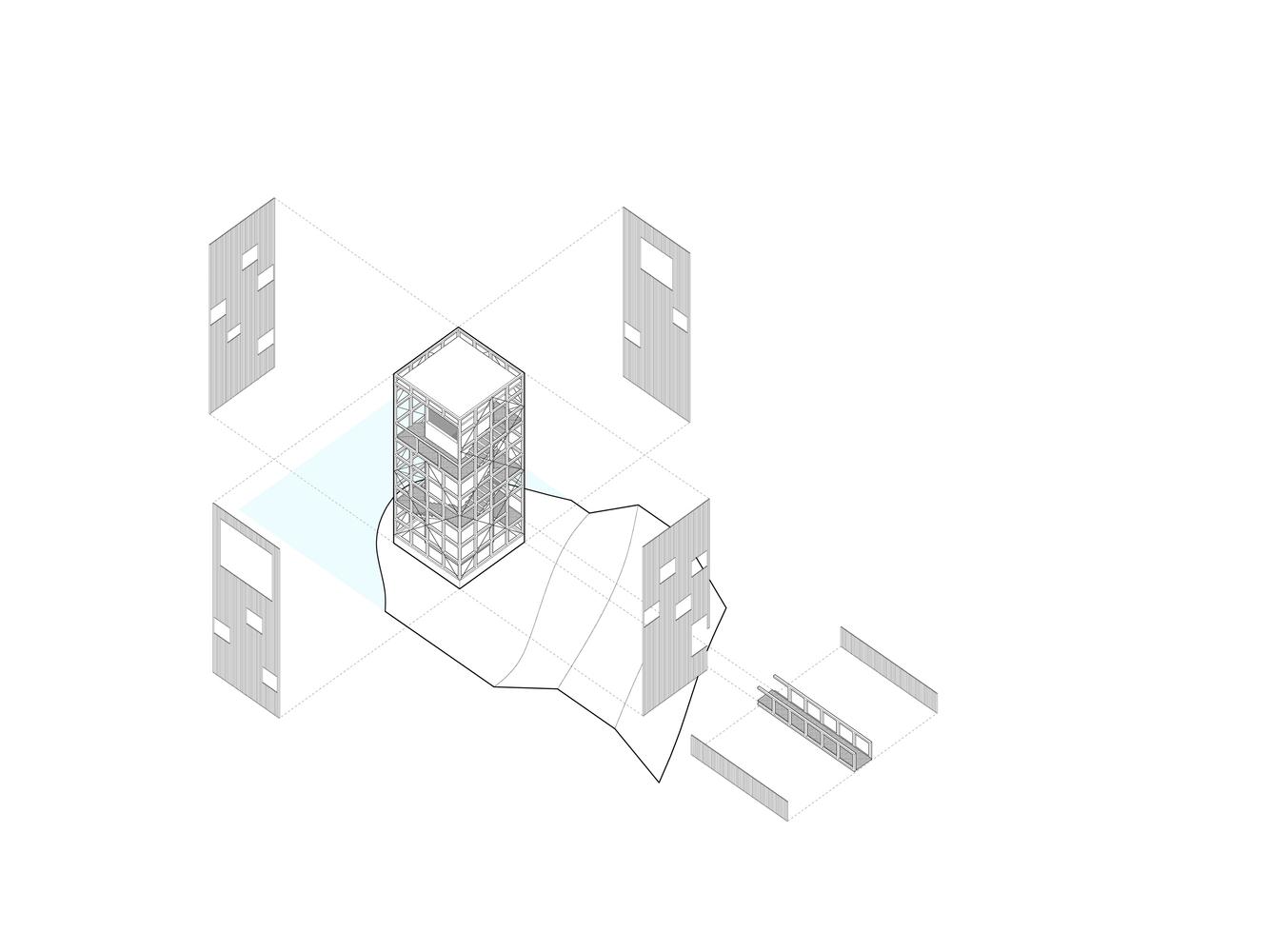 芬兰木材搭建的潜望镜瞭望塔